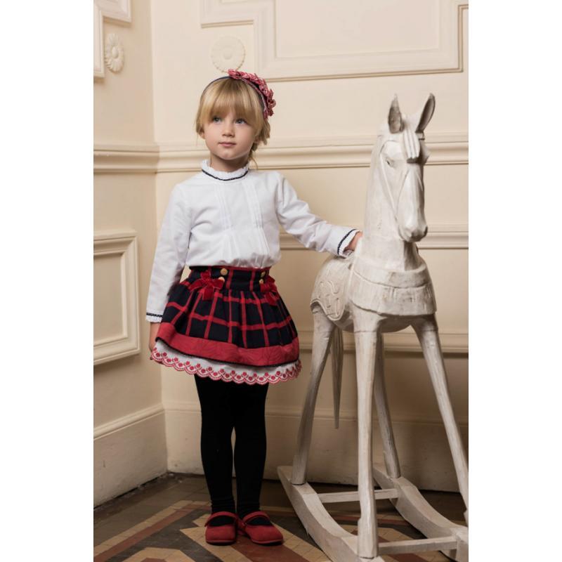 Vestido Blusa Blanca Y Falda Cuadros 2202 Dolce Petit